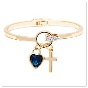 Heart Charm Bangle with Swarovski Crystals